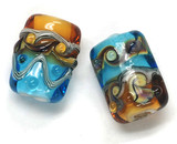 10405503 - Six Aqua w/Light Brown Mini Kalera Beads