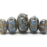 10406611 - Five Graduated Gray Blue w/Silver Foil Rondelle Beads