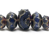 10407311 - Five Grad Black w/Ink Blue Silver Foil Rondelle Beads