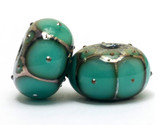 10505121 - Six Ocean Green w/Metal Dots Rondelle Beads