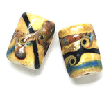 10800703 - Six Yellow Stone Mini Kalera Beads