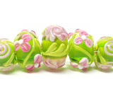 10102811 - Five Graduated Pink & Green Rondelle Beads