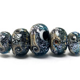 10204811 - Five Graduated Sable Celestial Rondelle Beads