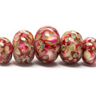 11106311 - Five Graduated Red & Ivory w/Beige Dot Rondelle Beads