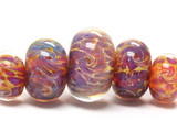 10602111 - Five Grad Yell-org & Purple Free Style Rondelle Beads