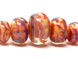 10602611 - Five Graduated Orange & Purple FreeStyle Rondelle Bds