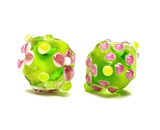 10102807 - Five Lime Green w/Pink & White Dot Crystal Beads