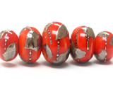 10705011 - Five Graduated Electric Orange Metallic RondelleBeads