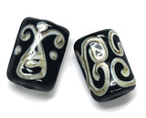 10301103 - Six Black w/Silver Ivory String Mini Kalera Beads