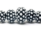 10203811 - Five Graduated Black and White Rondelle Beads