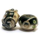 10406201 - Seven Green w/Dark Ivory Rondelle Beads