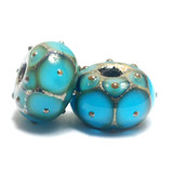 10409001 - Seven Teal Blue w/Metal Dots Rondelle Beads