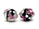 10101007 - Five Black Core w/Pink Rose/White Dots Crystal Beads