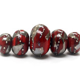 10704211 - Five Graduated Regal Red Metallic Rondelle Beads