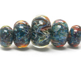10409511 - Five Graduated Blue/Multi-colors Boro Rondelle Beads