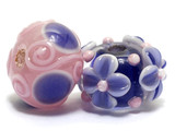 10402601 - Seven Light Pink w/Purple Rondelle Beads
