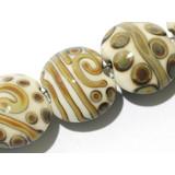 11101002 - Seven Ivory w/Beige Stringer Lentil Beads