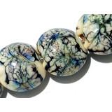 11103702 - Seven Ivory w/Black & Blue Free Style Lentil Beads
