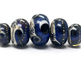 10604111 - Five Graduated Indigo Night Celestial Rondelle Beads