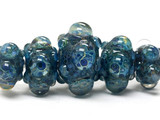 10409611 - Five Graduated Blue Free Style Boro Rondelle Beads