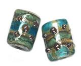 10406703 - Six Ocean Blue w/Silver Foil Mini Kalera Beads