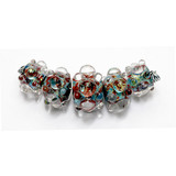AB00511 - Five Graduated Red/Green/Clear Dots Dichr Boro Bead