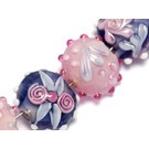 10402602 - Seven Light Pink w/Purple Lentil Beads
