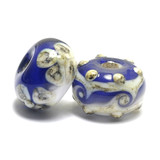 10405701 -  Seven Ink Blue w/White Rondelle Beads