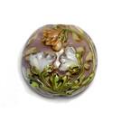 11814902 - Light Orange w/White Floral Lentil Focal Bead