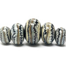 11103911 - Five Graduated Black w/Silver Ivory Rondelle Beads