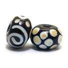 10901901 - Seven Dark Brown w/Dark Ivory Swirl Rondelle Beads