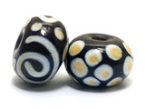 10901901 - Seven Dark Brown w/Dark Ivory Swirl Rondelle Beads