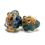 10409401 - Seven Blue & Orange Boro Rondelle Beads