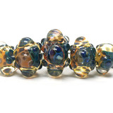 10409411 - Five Graduated Blue & Orange Boro Rondelle Beads