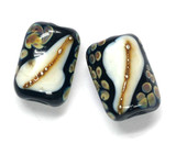 11105003 - Six Black/Ivory & Beige Dots Mini Kalera Beads