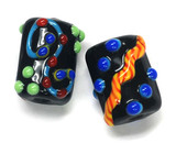 10201203 - Six Black Based Fiesta Mini Kalera Beads