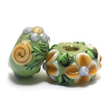 11203901 - Seven Green w/Brown & Purple Flower Rondelle Beads