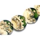 10406202 - Seven Green w/Dark Ivory Lentil Beads