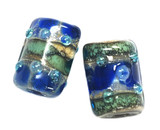 10406503 - Six Deep Ocean Blue w/Silver Foil Mini Kalera Beads