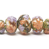 10801011 - Five Grad Light Pink w/Orange Floral Rondelle Beads