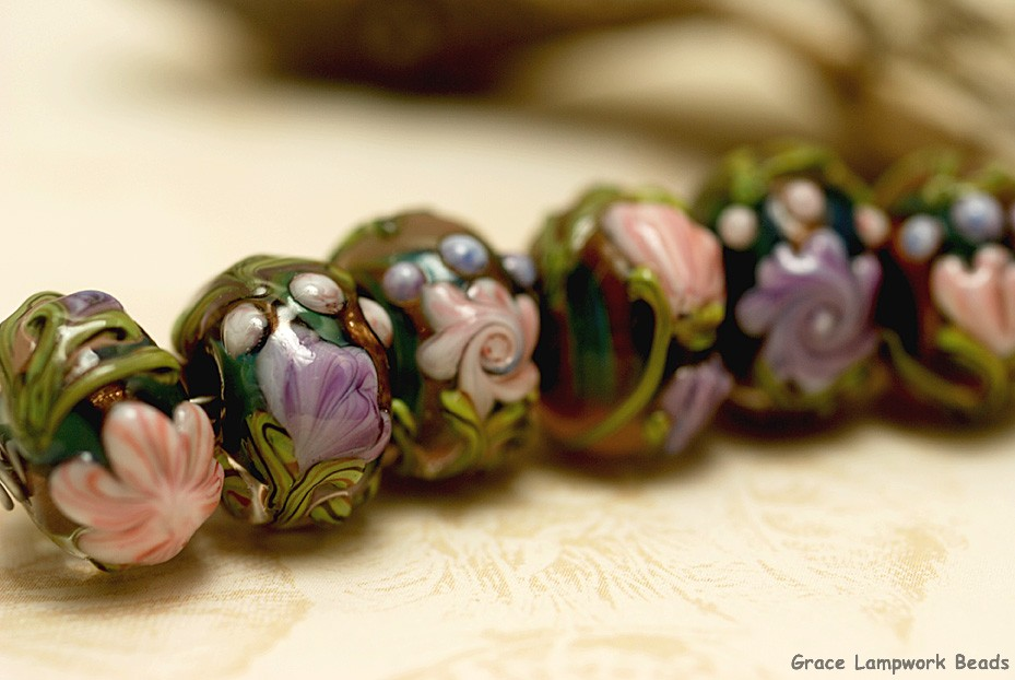 Handmade Glass Lampwork Beads Set 11005801 Seven Purple wOrange Flora Rondelle Beads