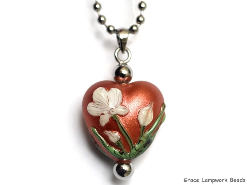 Grace lampwork beads hn 11832505 white mist flower on coral heart hn 11832505 white mist flower on coral heart necklace mightylinksfo