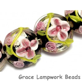 10106512 - Four Pink/Black/Green Silver Foil Lentil Beads
