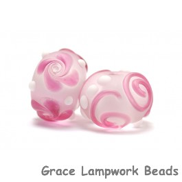 10108501 - Seven Pink/White Frosted Rondelle Beads