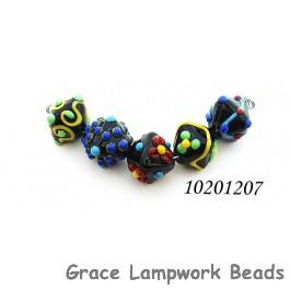 10201207 - Five Black Based Fiesta Crystal Beads