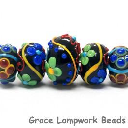 10201211 - Five Graduated Black Based Fiesta Rondelle Beads