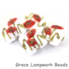 California Poppy Flower Glass Pillow Beads