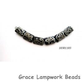 10301103 - Six Black w/Silver Ivory String Mini Kalera Beads