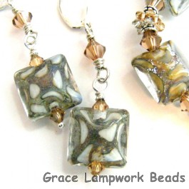 10303404 Earrings using Ivory w/Crystal Clear Pillow Beads