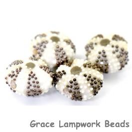 Ivory sea urchin glass beads